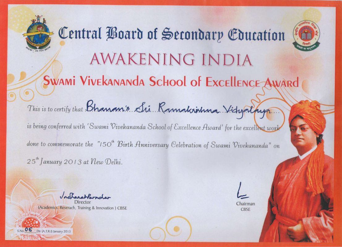 swami-viveka Excellence award - Bhavan's School
