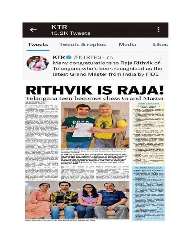 KTR Tweet on Raja Ritvik of BSRKV