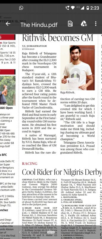 Hindu Article on Chess Grandmaster R Raja Ruthvik - BSRKV